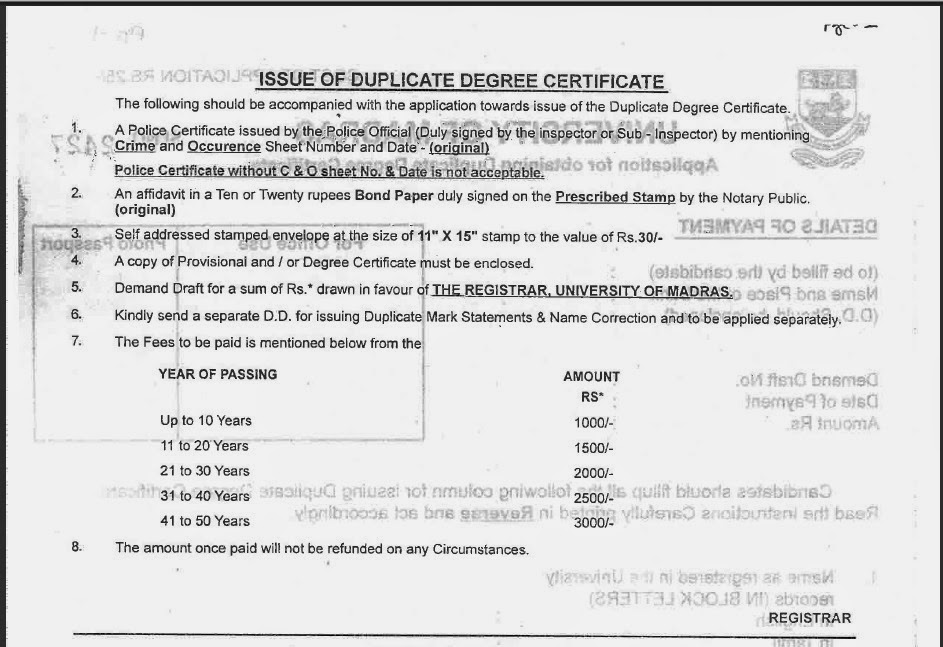 How to obtain duplicate degree certificate from university of how to obtain duplicate degree certificate from university of madras yadclub Image collections