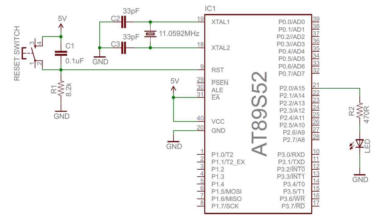 Open Electronics Project Tutorial 2 Led Blink In 8051 Circuit Diagram Interfacing