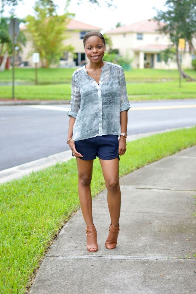 Navy Shorts & Snakeskin | Summer Outfits
