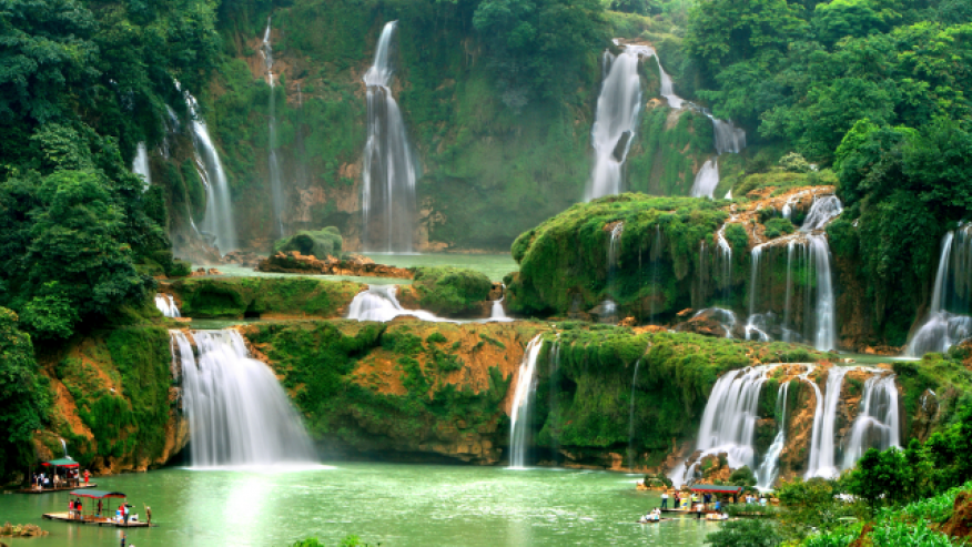 A subject of a longtime border dispute between China and Vietnam, Ban Gioc-Detian Falls is currently marked on China's side. The falls are teeming with history—from serving as a crossing point in the Sino-Vietnamese War to hosting outlaws and their treasure in nearby tunnels and legend has it some of the treasure is still lying undiscovered in one of the gorges.