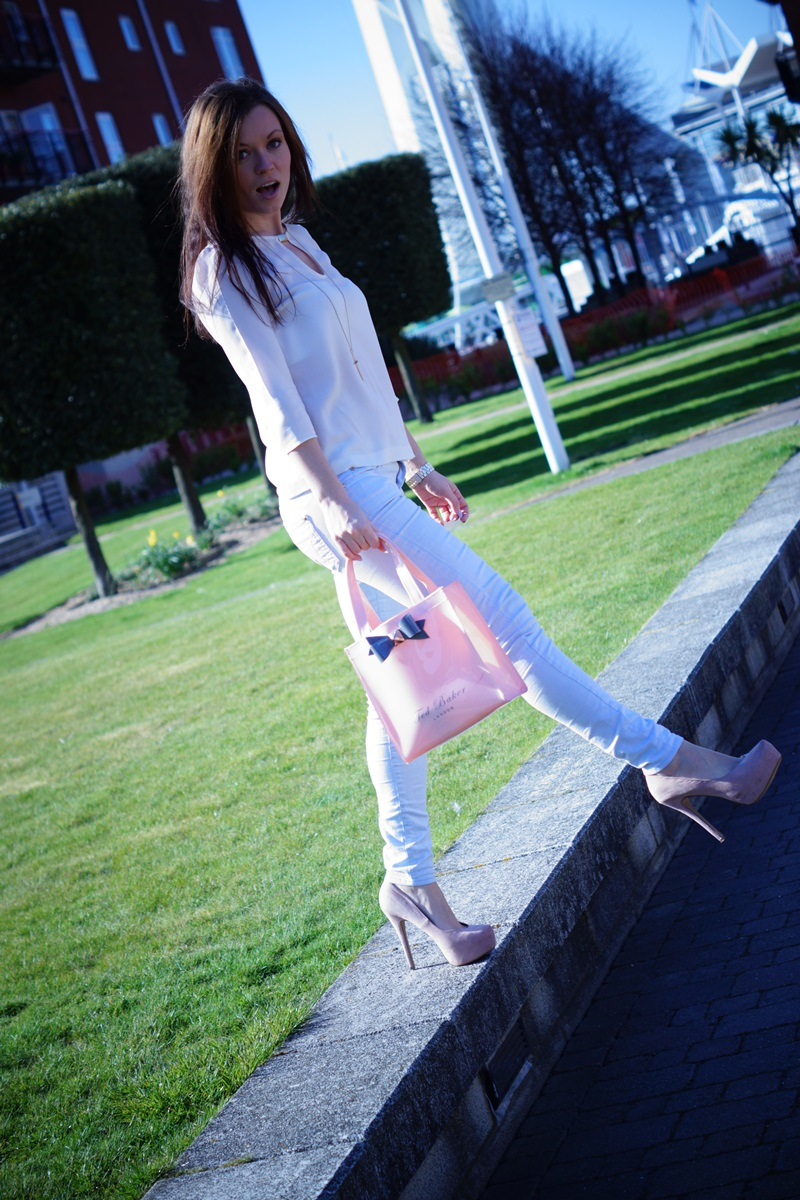cream, blue and gold casual outfit