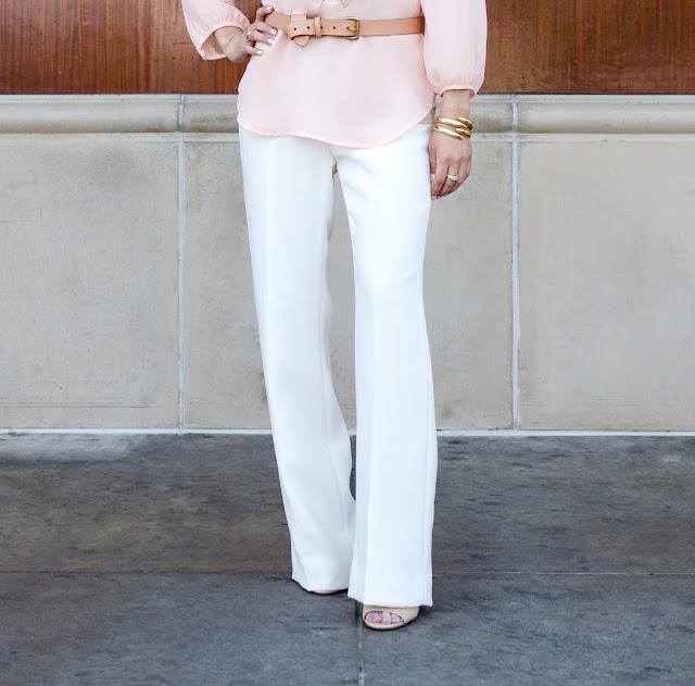 Alberto Makali Pink laser cut leather lace tunic White Wide-Leg Trousers White Wide-Leg Pants Tan Belt Gold Cuff Bracelet Nine West Tan Ankle Strap Stiletto Heels