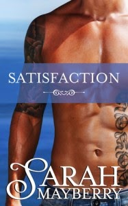 Book cover. Close up of a naked torso with tattoos on his arm an right side of his stomach. He's wearing light blue jeans and the background seems to be an ocean.
