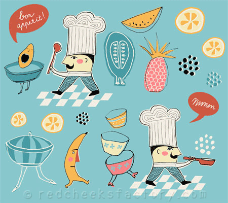 bolt fabric design - vintage kitchen - assignment 1 - make art that sells with lilla rogers