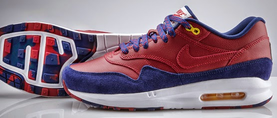 zapatillas deportivas Nike Air Max 1 colores azul grana Barça escudo