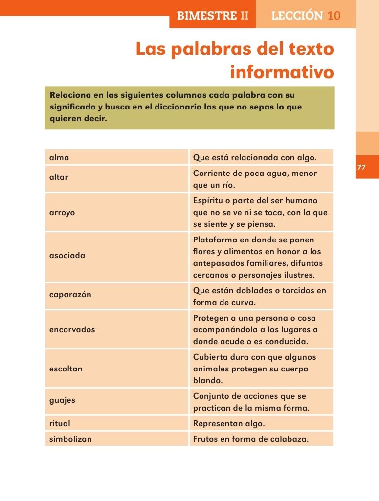 Apoyo Primaria Español 2do grado Bloque 2 lección 10 Las palabras ...