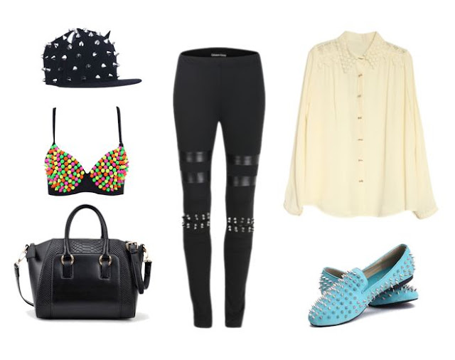 romwe huge mid season sale items, studded hat, studded leggings, studded bra