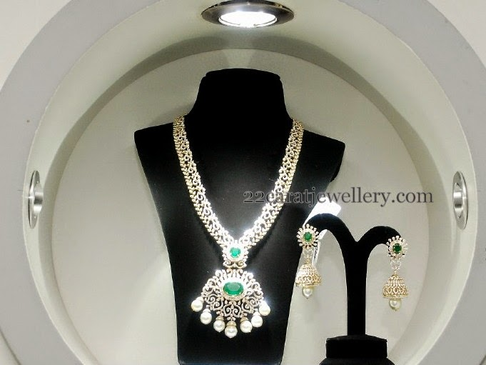 Diamond Emerald Haram with Jhumka