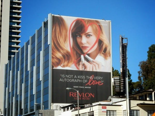 Giant Emma Stone Revlon Love is on billboard