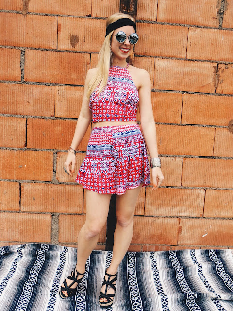 ZNU two piece red and blue outfit, Vespa Studio tiny antique Hamsa hand necklace, round silver Emblem Eyewear sunglasses, Chicnova long finger ring, Charming Damsel black lace headband, Deb shops black wedges, boho style, boho outfit, hippie style, hippie outfit, bohemian, festival style