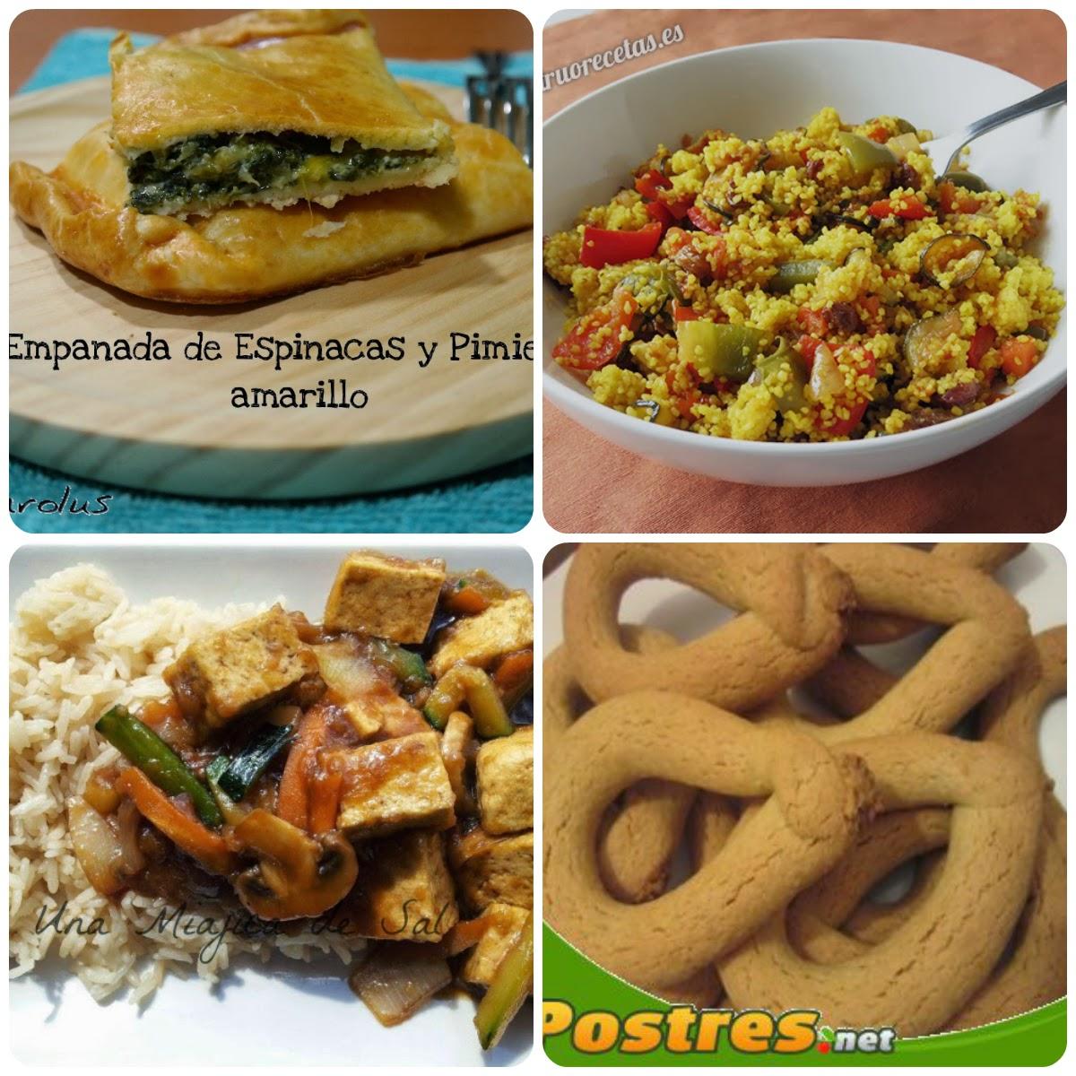 Los 4 platos que componen el 07 Menú vegetariano con recetas de otros blogs.
