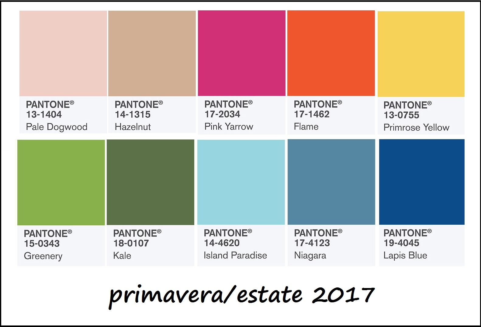 Colori primavera/estate 2017