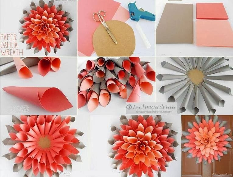 Decoration and ideas step by step how to make paper flowers for Flower decoration made of paper