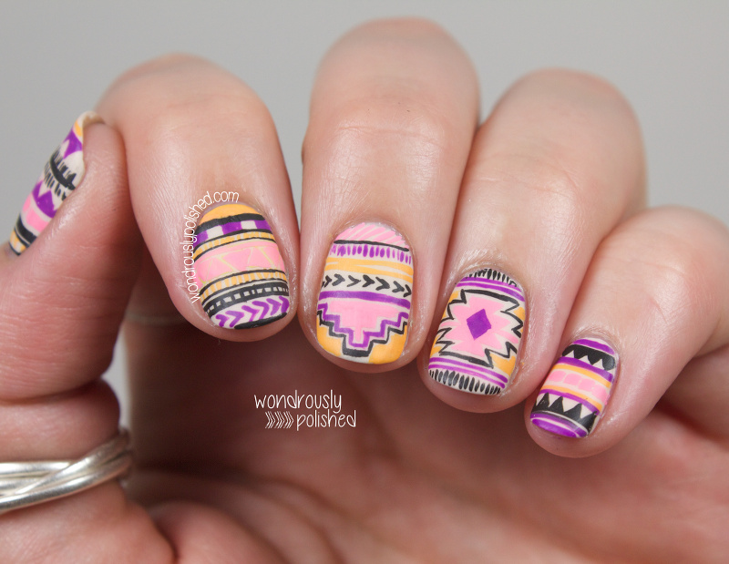 Wondrously Polished: NAGG - Day 6: Neon Tribal Nail Art