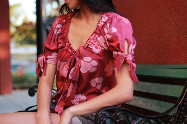floral print blouse shirt spots dots