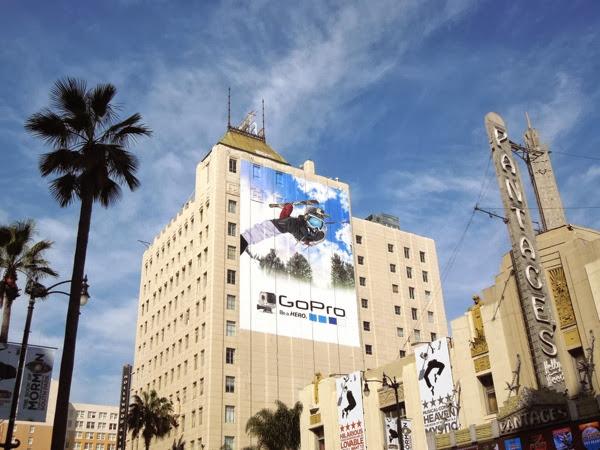 Giant GoPro skier billboard Hollywood Boulevard