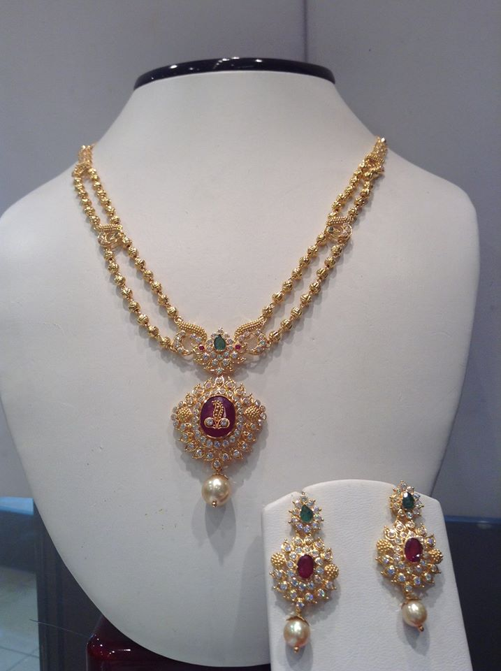 Jewellery Designs : #@ Gold Balls Designer Necklace with CZ\'s