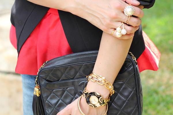 bcbg mitra jacket, h&m peplum top, Zara crystal bib necklace, Zara boyfriend jeans, Lanvin for H&M heels, Prada baroque sunglasses, vintage Chanel camera bag