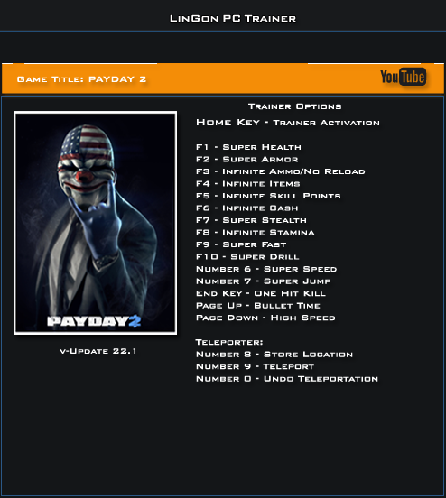 Payday 2 v22.1 Trainer +17 [LinGon]