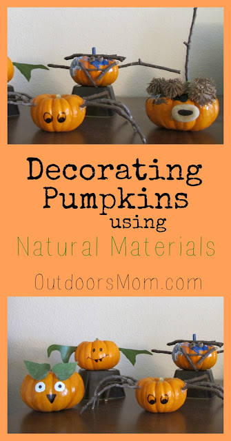 outdoorsmom  decorating pumpkins using natural materials