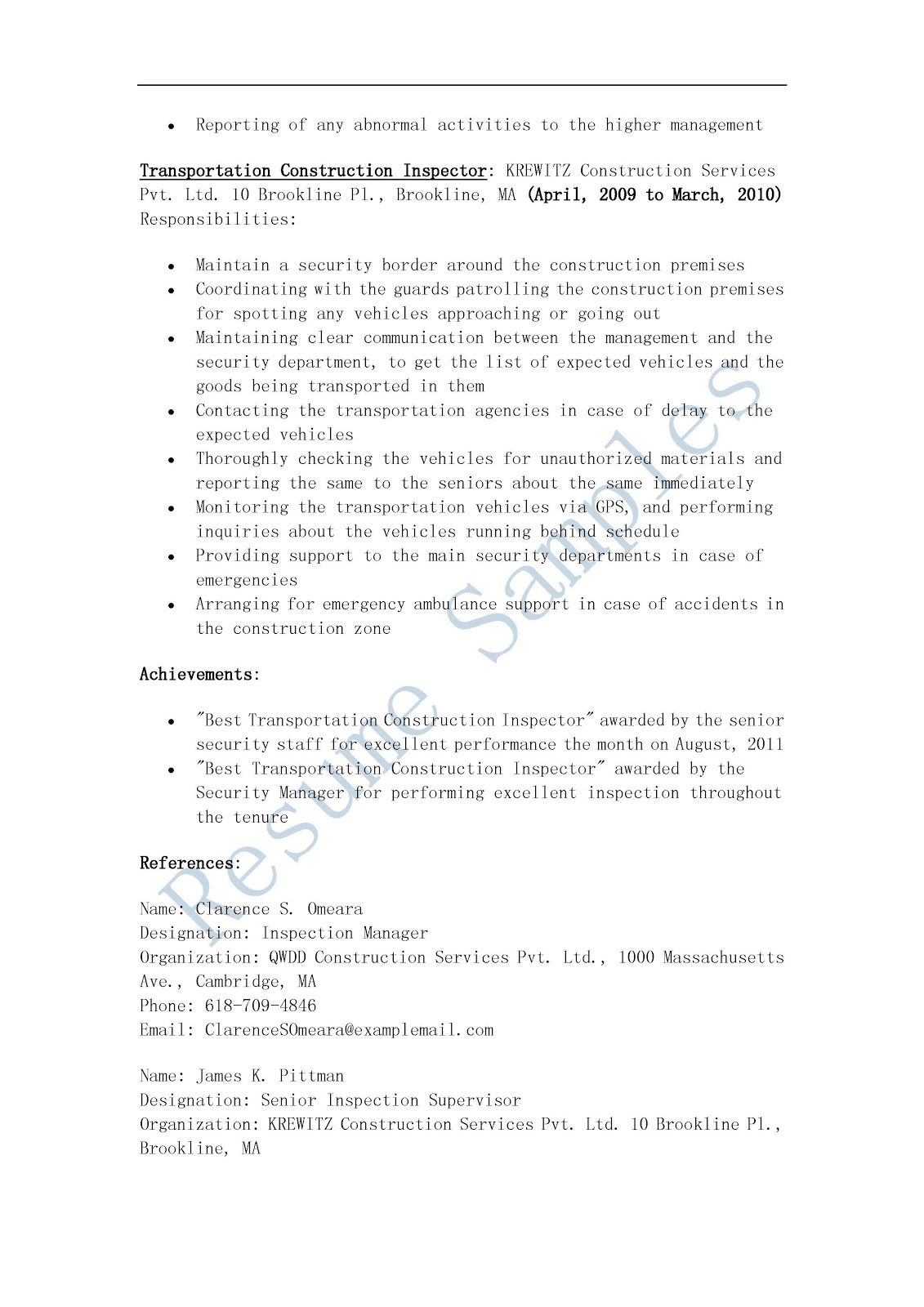 Construction Inspector Resume Samples