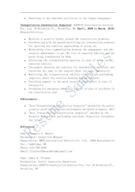 resume samples transportation construction inspector resume
