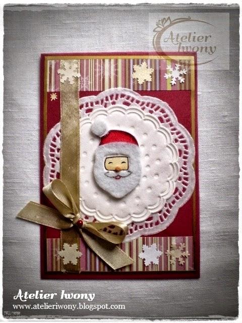 Mikołaj, Pere noel, santa, claus, dziadek mróz, głowa, wąsy, śnieżynka, śnieg, pada, snowflake, il neige, neiger, la neige, bałwan, pasek, scrapbooking, wstążka, serwetka