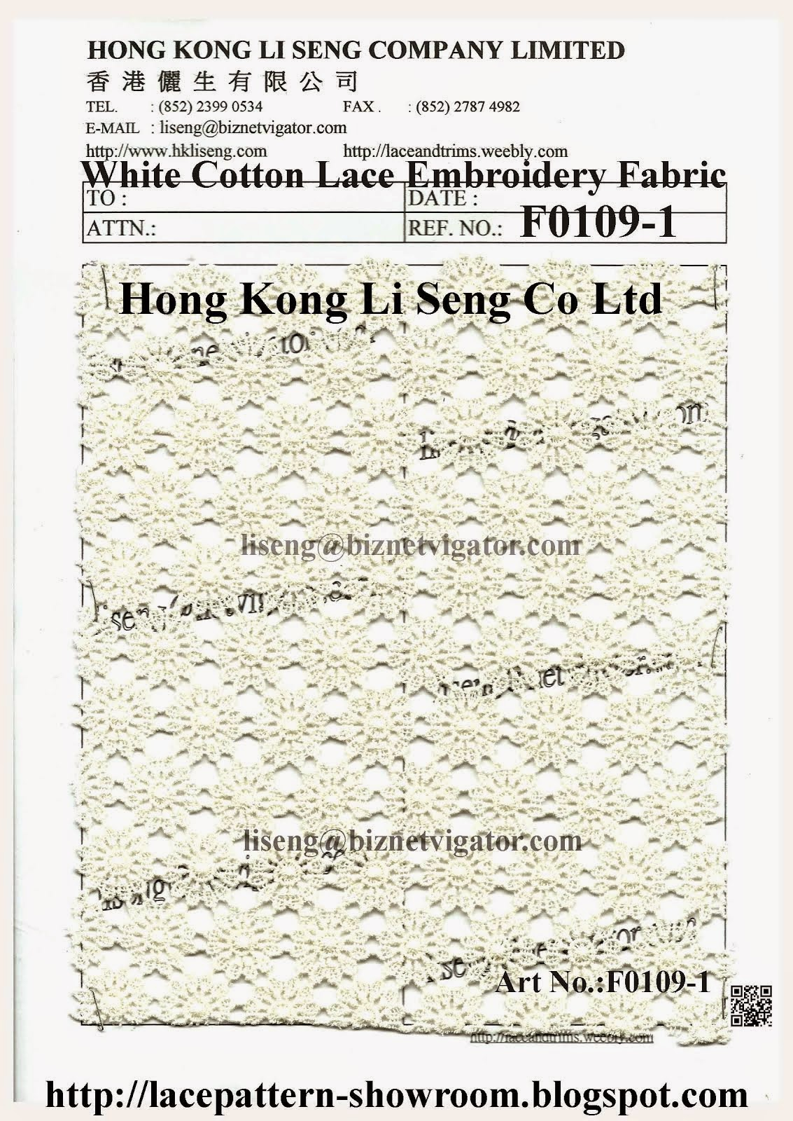 "New White Cotton Lace Embroidery Fabric - Manufactory "" Hong Kong Li Seng Co Ltd """