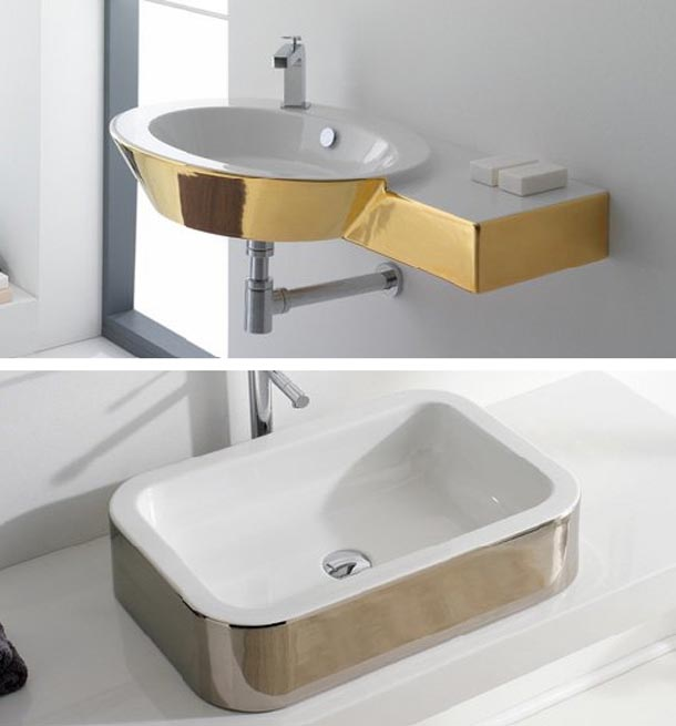stunning design with gold themed bathroom decor italian luxury sink