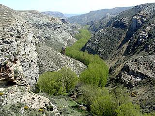 Cañón del río Val, por el que discurre el trazado jacobeo
