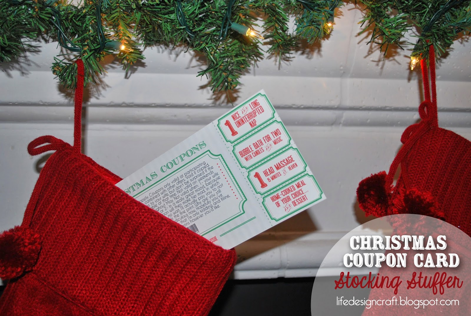super EASY stocking stuffer for hubby! Christmas Coupon Card... so much better than having to come up with an entire book of coupons! (FREE printable!