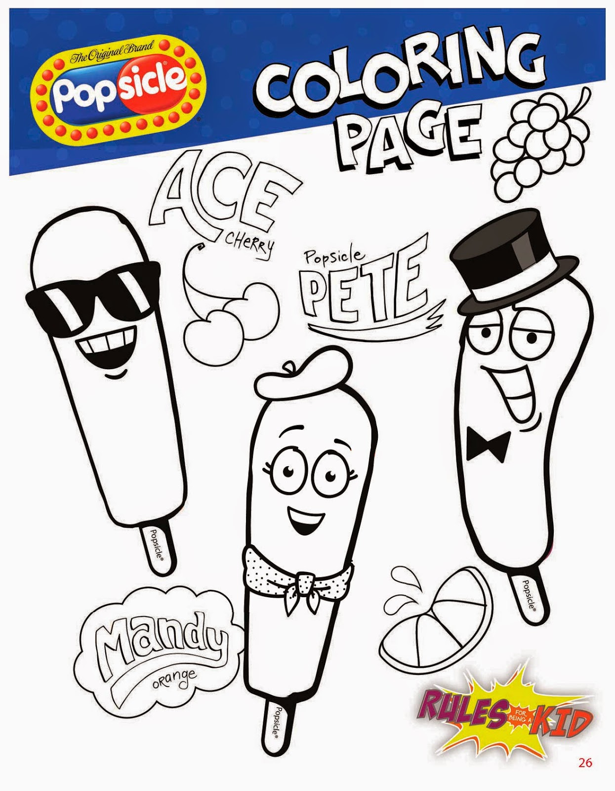 Popsicle Rules For Being A Kid Guidebook coloring pages