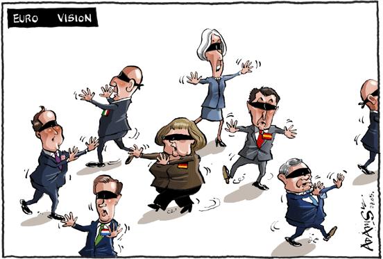 Euro Visão (jogando à cabra cega)= Christine Lagarde, Angela Merkel, David Cameron, líderes da Holanda, Espanha, Itália, Grécia...