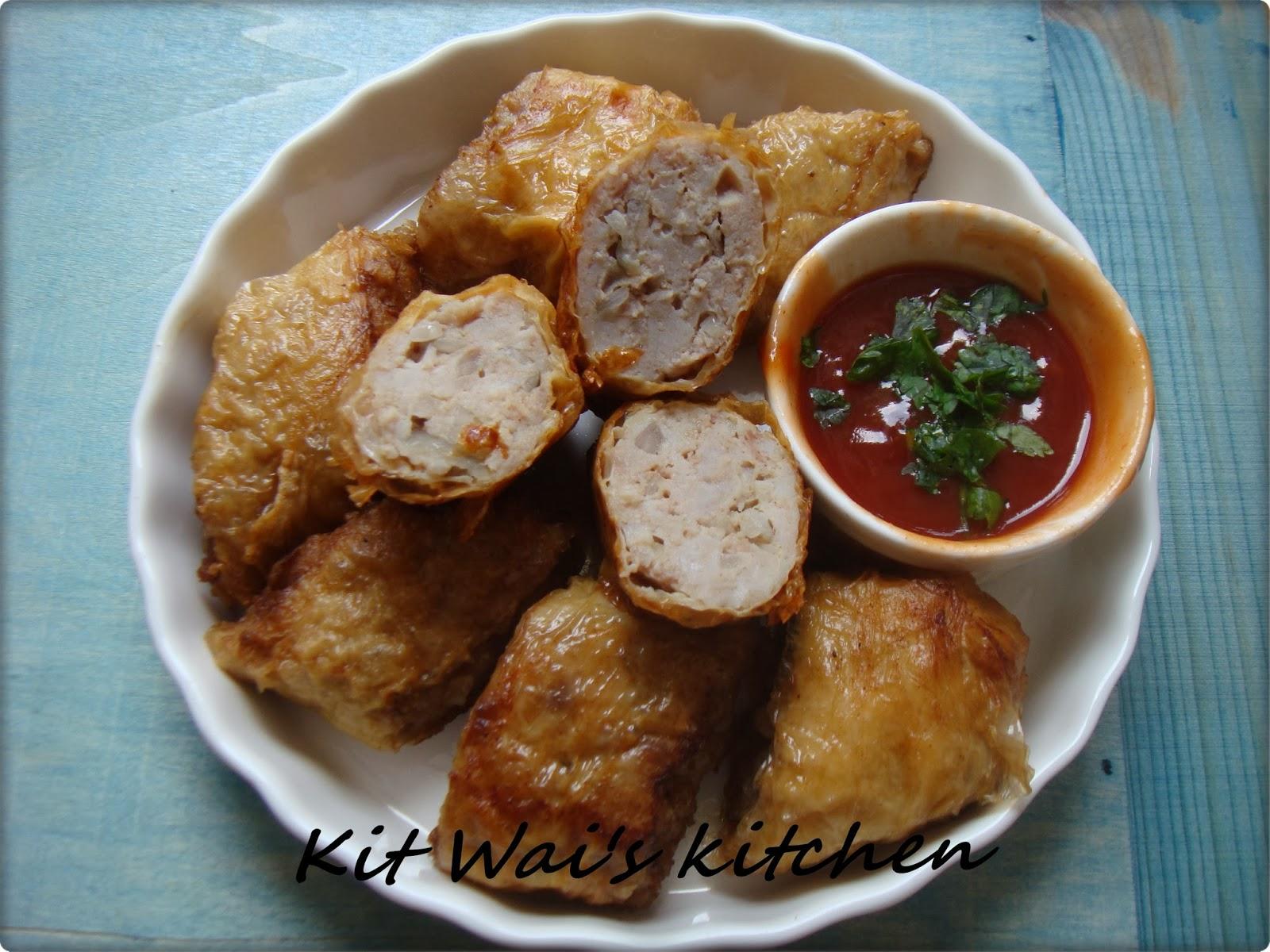 Kit Wai's kitchen : 香脆腐竹卷 ~ Crispy tofu skin rolls