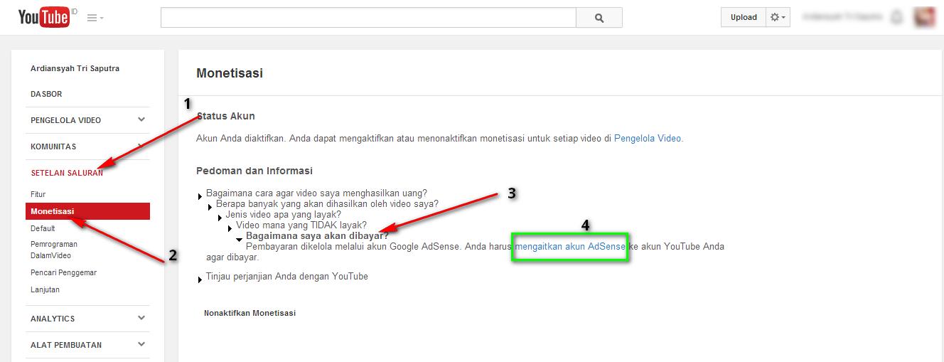 Cara Mendaftar Akun Google Adsense lewat Youtube cepat diterima