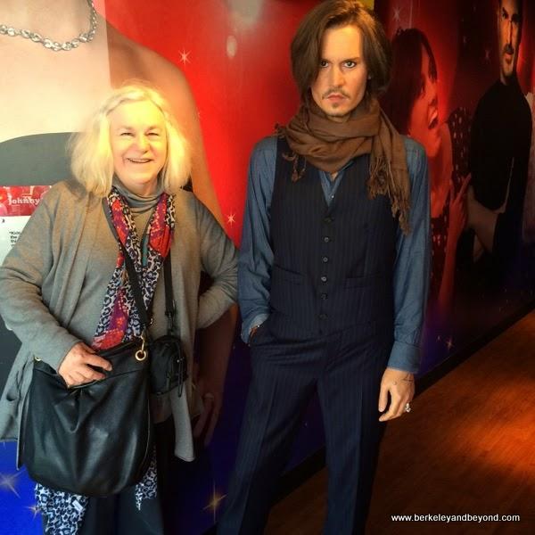 travel writer Carole Terwilliger Meyers with Johnnie Depp at Madame Tussauds San Francisco