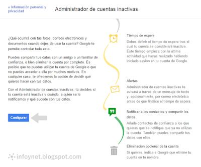 Administrador de cuentas inactivas de Google