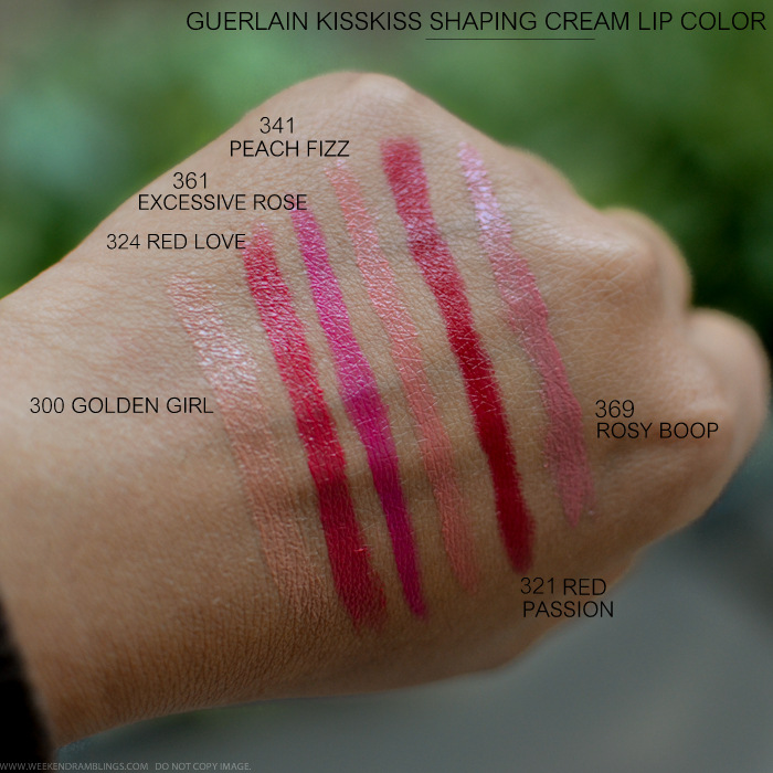 Guerlain KissKiss Lipsticks Swatches 300 Golden Girl 324 Red Love 361 Excessive Rose 341 Peach Fizz 321 Red Passion 369 Rosy Boop