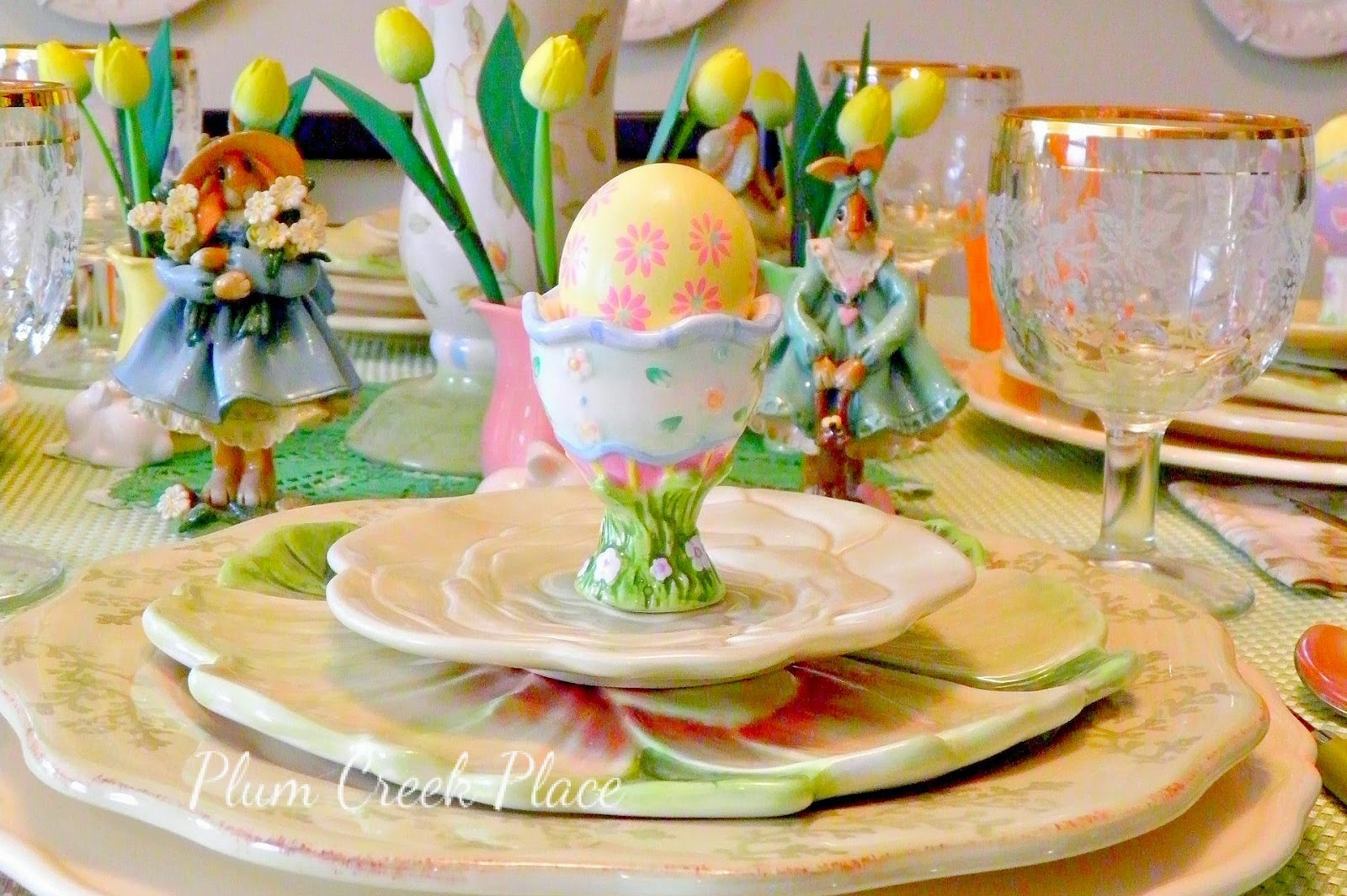 Easter Tablescape, Bunny tablescape, flop eared bunnies - Plum Creek