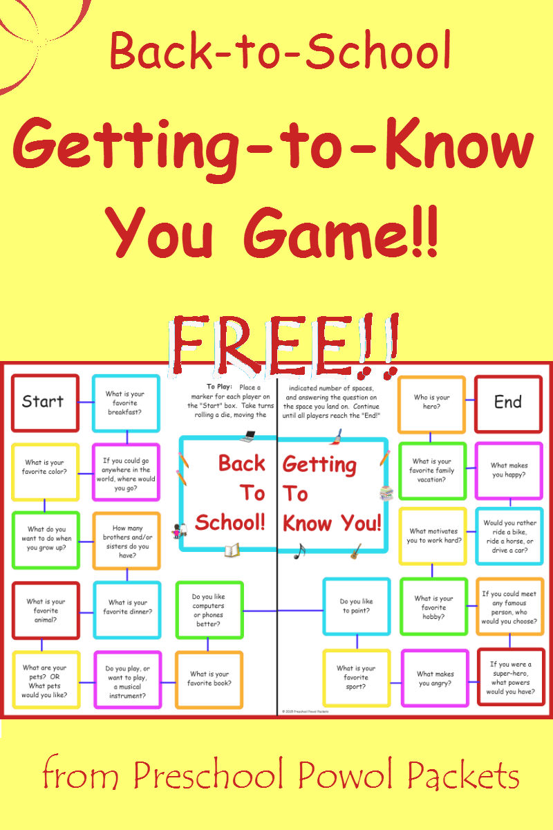 free back to school getting to know you game preschool powol