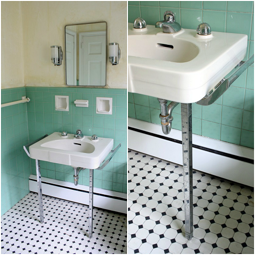 Meet me in philadelphia prepping the jadeite bathroom for for Bathroom 1950 style