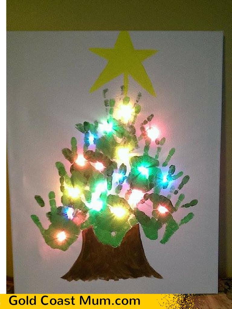 Christmas Craft Ideas Handprint Canvas Gold Coast Mum