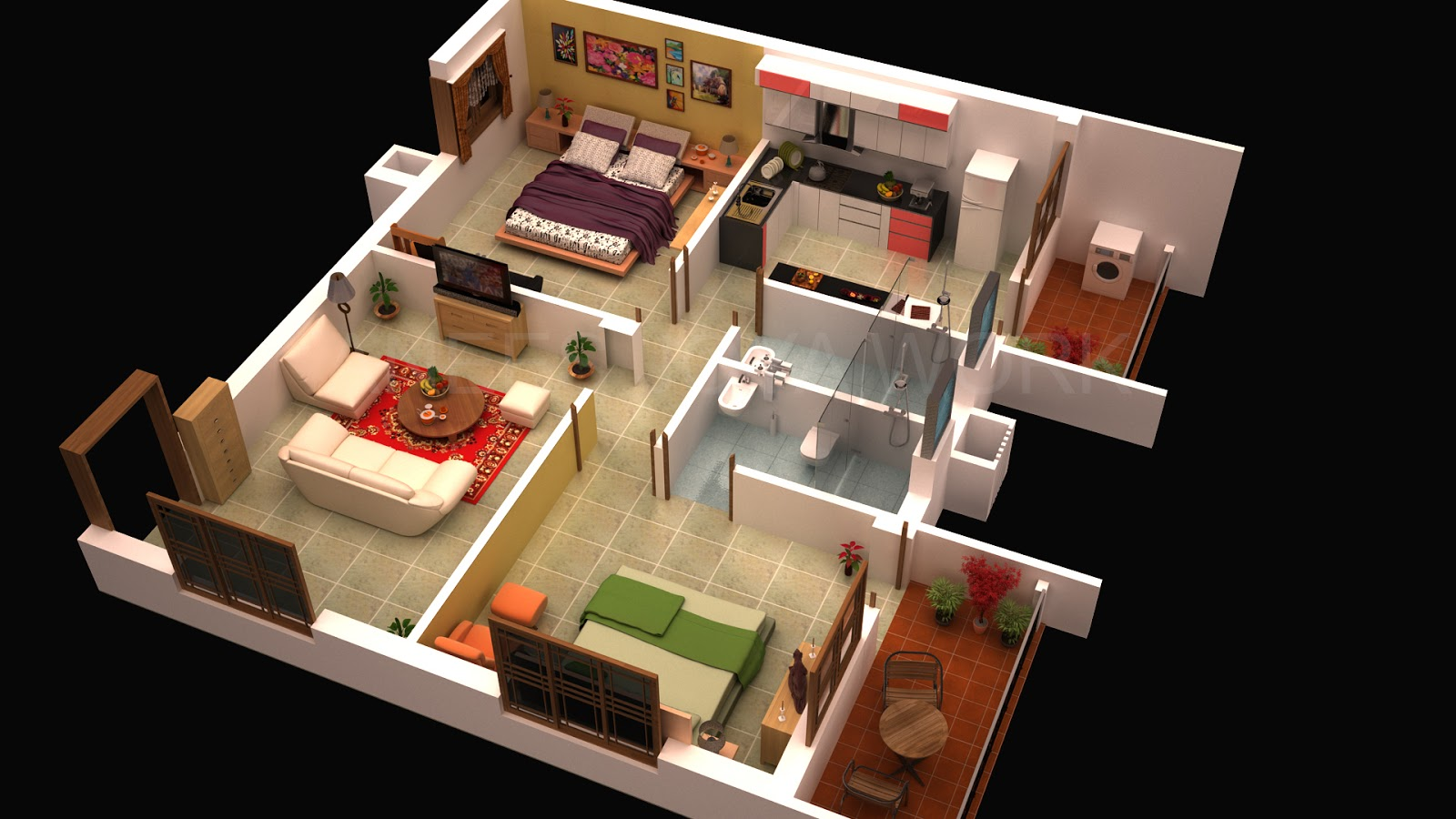 Anees joya works 3d interior design 3ds max vray for Design of 2bhk house