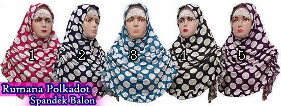 Jilbab modis dan simpel rumana polkadot