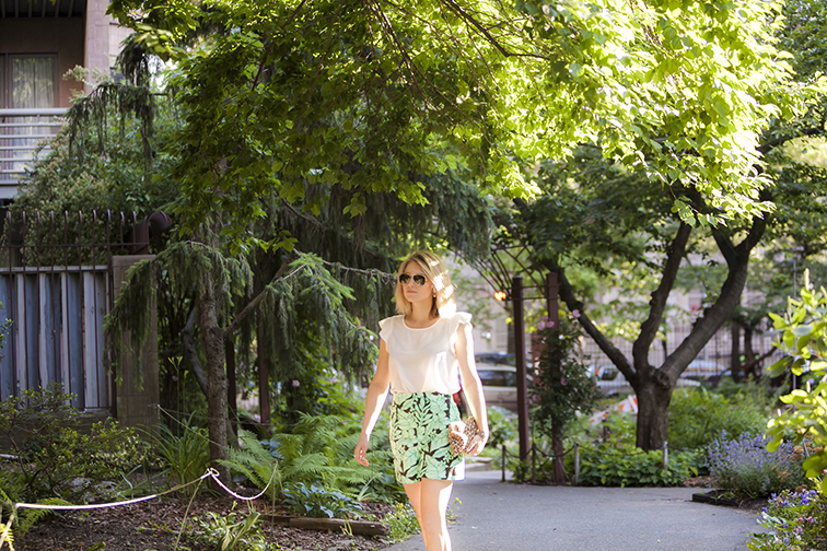 Nature retreat in the city, white frilly silk Joe Fresh blouse, tropical print Zara shorts