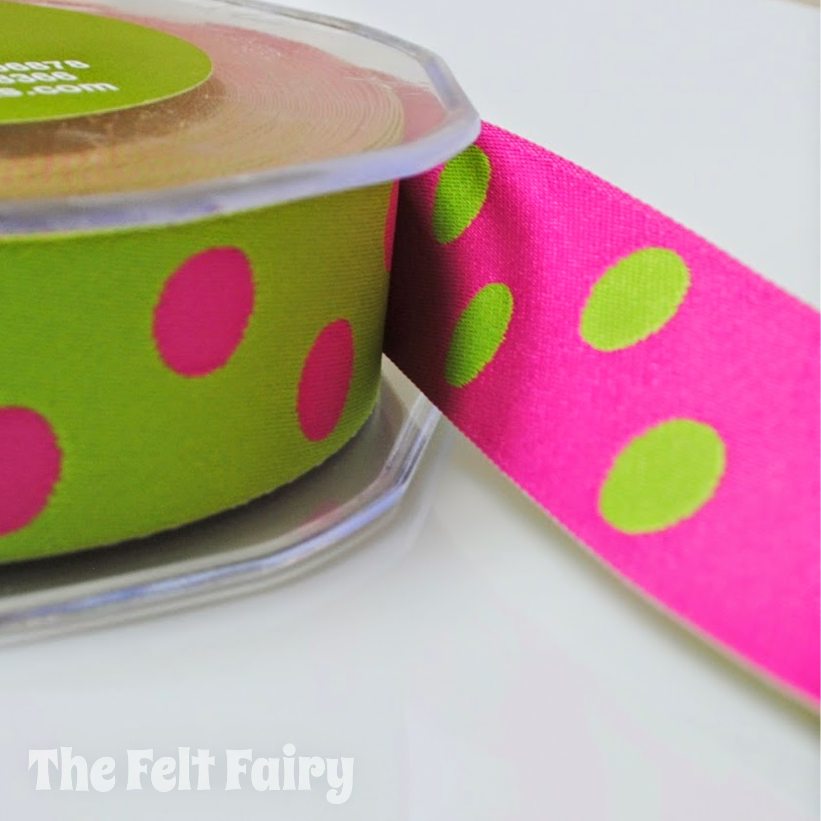 Lime and Cerise Reversible Polka Dot Ribbon May Arts