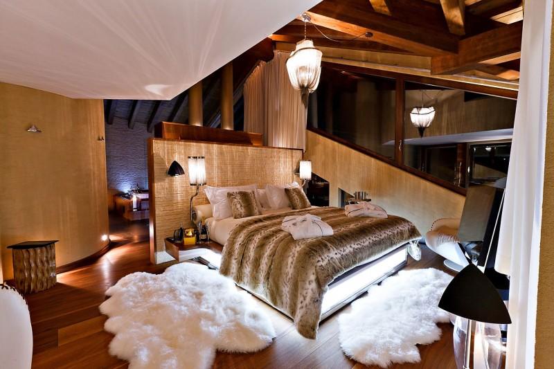 mountain home bedroom in swiss alps courtesy of chalet zermatt peak - Home Designs Swiss Mountain