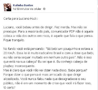 Rafinha Bastos detona Luciano Huck: playboy inconsequente