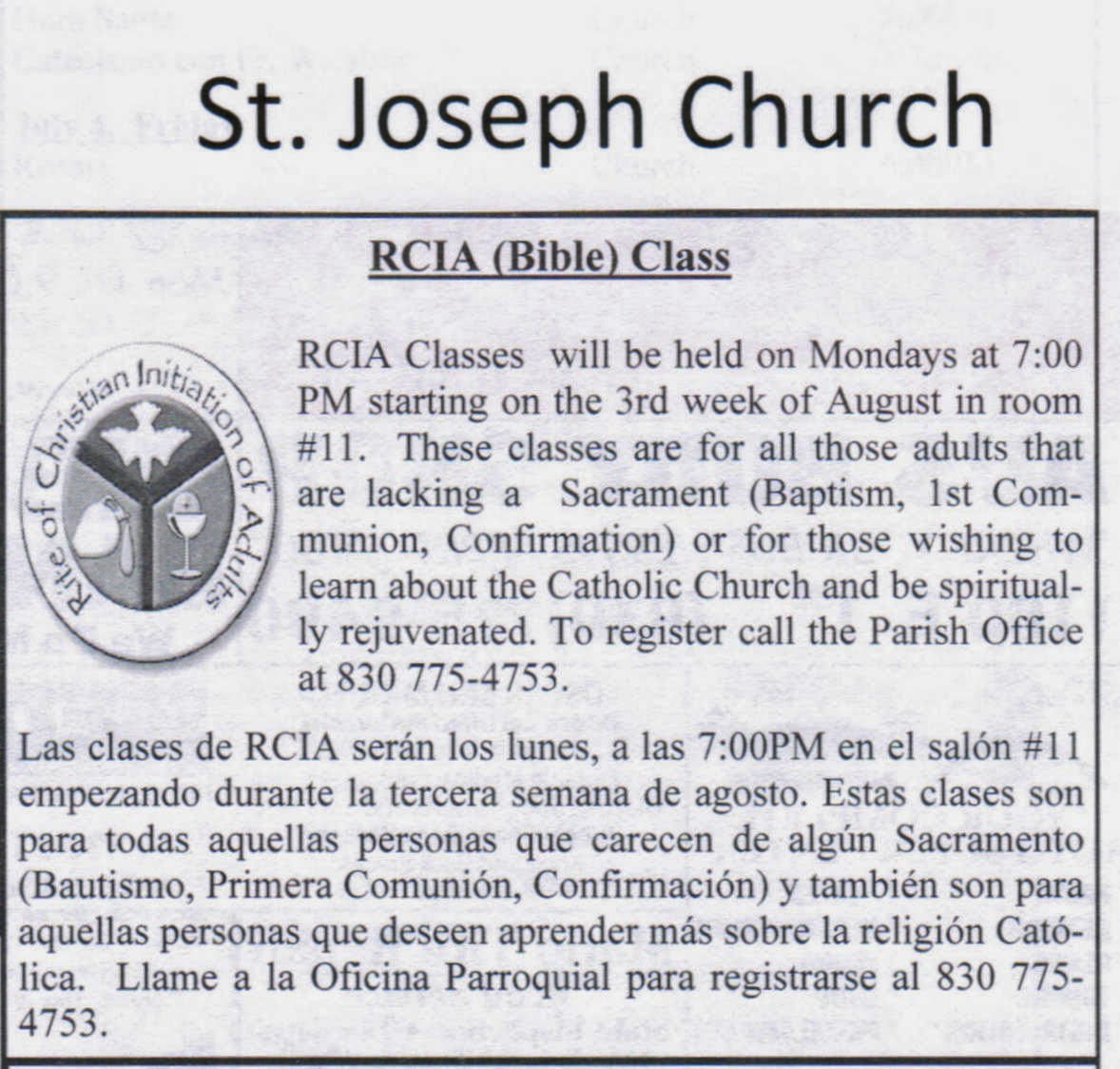 Starting Third Week in August 2014: St. Joseph RCIA Class Mondays 7:00 pm Room #11