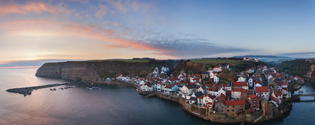 Panorama photograph of Staithes in North Yorkshire by Martyn Ferry Photography